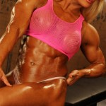 LISA CROSS : BRITAIN'S BAD GIRL OF BODYBUILDING AT MUSCLE PINUPS BOOTH