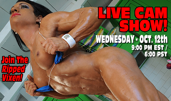 Free Live X Rated Cam Show with Ripped Vixen!